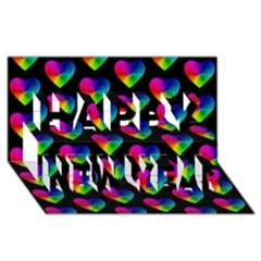 Heart Pattern Rainbow Happy New Year 3D Greeting Card (8x4)