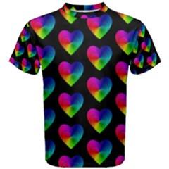 Heart Pattern Rainbow Men s Cotton Tees