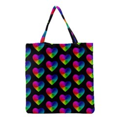 Heart Pattern Rainbow Grocery Tote Bags