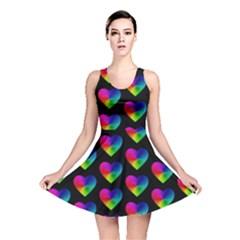 Heart Pattern Rainbow Reversible Skater Dresses
