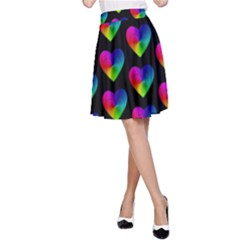 Heart Pattern Rainbow A-Line Skirts