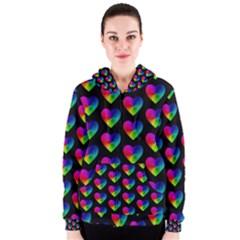 Heart Pattern Rainbow Women s Zipper Hoodies