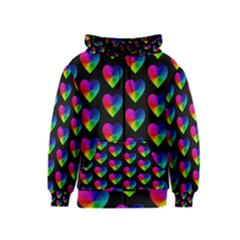 Heart Pattern Rainbow Kids Zipper Hoodies