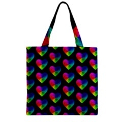 Heart Pattern Rainbow Zipper Grocery Tote Bags