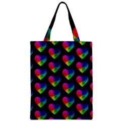 Heart Pattern Rainbow Zipper Classic Tote Bags