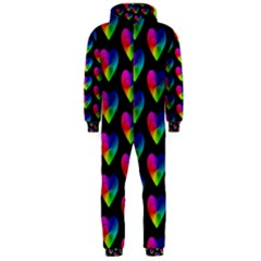Heart Pattern Rainbow Hooded Jumpsuit (men)