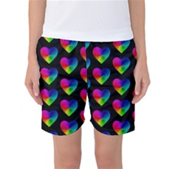 Heart Pattern Rainbow Women s Basketball Shorts