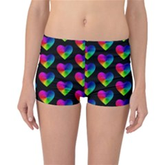 Heart Pattern Rainbow Reversible Boyleg Bikini Bottoms