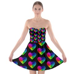 Heart Pattern Rainbow Strapless Bra Top Dress