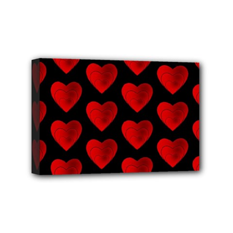 Heart Pattern Red Mini Canvas 6  X 4