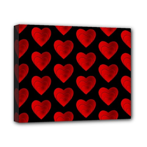 Heart Pattern Red Canvas 10  x 8