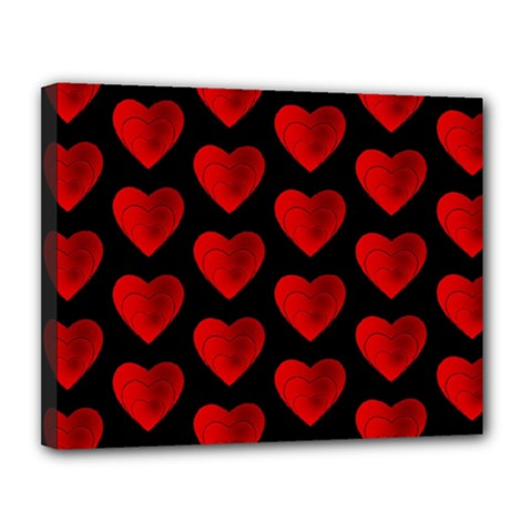 Heart Pattern Red Canvas 14  x 11