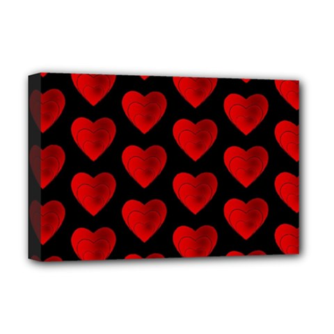 Heart Pattern Red Deluxe Canvas 18  x 12