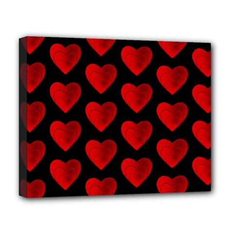 Heart Pattern Red Deluxe Canvas 20  x 16