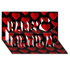 Heart Pattern Red Happy Birthday 3d Greeting Card (8x4)