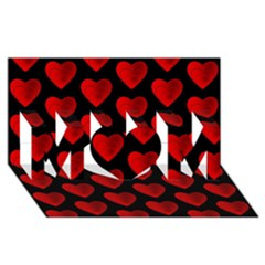 Heart Pattern Red MOM 3D Greeting Card (8x4)