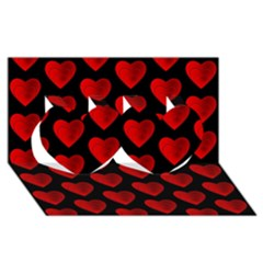 Heart Pattern Red Twin Hearts 3D Greeting Card (8x4)