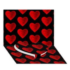 Heart Pattern Red Heart Bottom 3D Greeting Card (7x5)