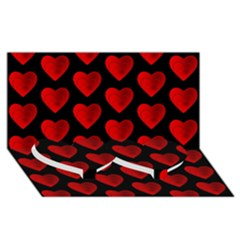 Heart Pattern Red Twin Heart Bottom 3D Greeting Card (8x4)