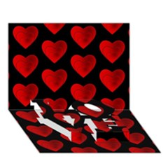 Heart Pattern Red LOVE Bottom 3D Greeting Card (7x5)