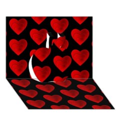 Heart Pattern Red Apple 3D Greeting Card (7x5)