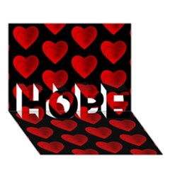 Heart Pattern Red HOPE 3D Greeting Card (7x5)