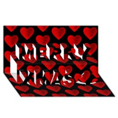 Heart Pattern Red Merry Xmas 3d Greeting Card (8x4)
