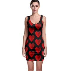 Heart Pattern Red Bodycon Dresses