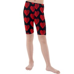 Heart Pattern Red Kid s swimwear