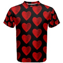 Heart Pattern Red Men s Cotton Tees