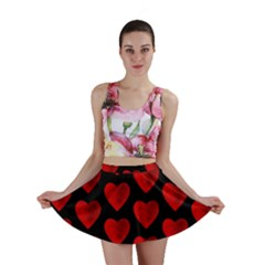 Heart Pattern Red Mini Skirts