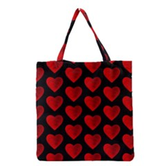 Heart Pattern Red Grocery Tote Bags