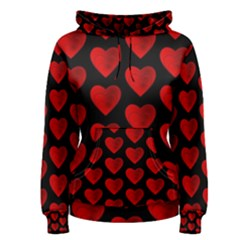 Heart Pattern Red Women s Pullover Hoodies