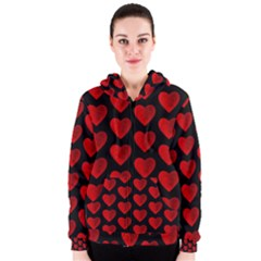 Heart Pattern Red Women s Zipper Hoodies
