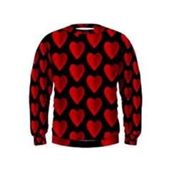Heart Pattern Red Boys  Sweatshirts