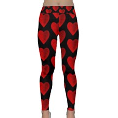 Heart Pattern Red Yoga Leggings