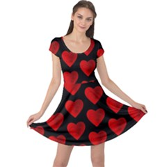Heart Pattern Red Cap Sleeve Dresses