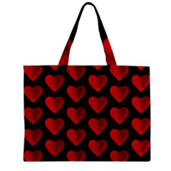 Heart Pattern Red Zipper Tiny Tote Bags