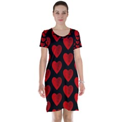 Heart Pattern Red Short Sleeve Nightdresses