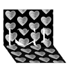 Heart Pattern Silver I Love You 3d Greeting Card (7x5)
