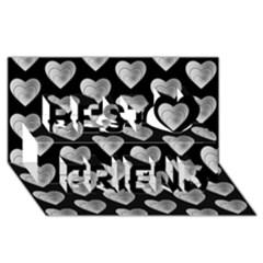 Heart Pattern Silver Best Friends 3D Greeting Card (8x4)