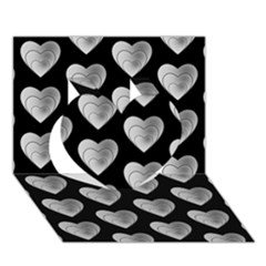 Heart Pattern Silver Heart 3d Greeting Card (7x5)