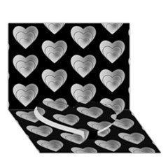 Heart Pattern Silver Heart Bottom 3d Greeting Card (7x5)