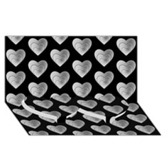 Heart Pattern Silver Twin Heart Bottom 3D Greeting Card (8x4)