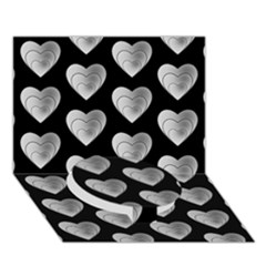 Heart Pattern Silver Circle Bottom 3D Greeting Card (7x5)