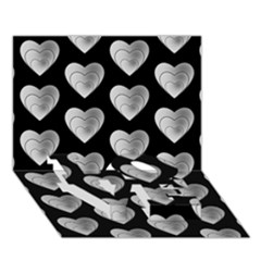 Heart Pattern Silver LOVE Bottom 3D Greeting Card (7x5)