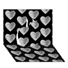 Heart Pattern Silver Apple 3D Greeting Card (7x5)