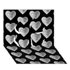 Heart Pattern Silver Clover 3D Greeting Card (7x5)