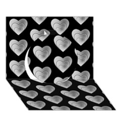 Heart Pattern Silver Circle 3D Greeting Card (7x5)