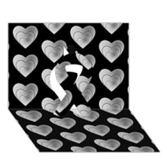 Heart Pattern Silver Ribbon 3d Greeting Card (7x5)